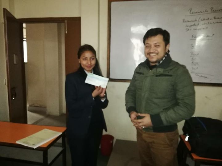 1591900249 845 Scholarship distribution to Sujita poudel college topper of BSW II