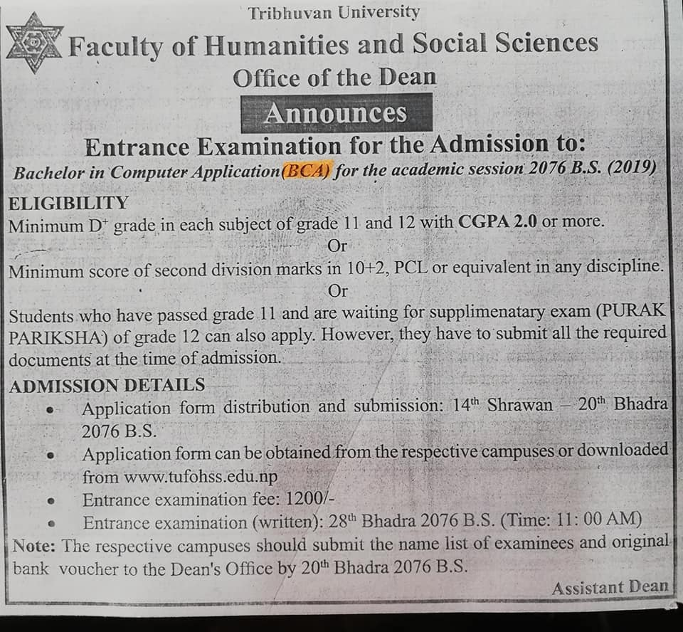 Bca Admission Open Notice 2076