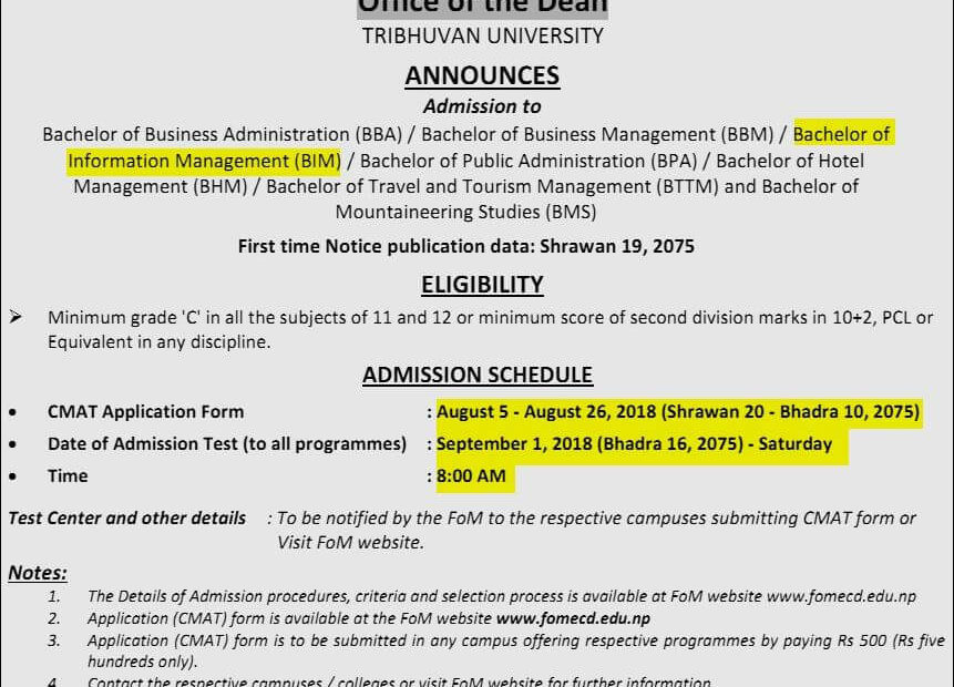 Faculty Of Management Office Of Dean Announces Admission Open For