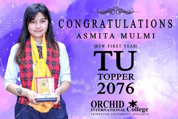 Congratulations Asmita Mulmi Bsw 1st Year Tu Topper